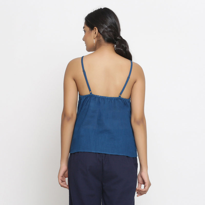 Back View of a Model wearing Strappy Everyday Cotton Spaghetti Top