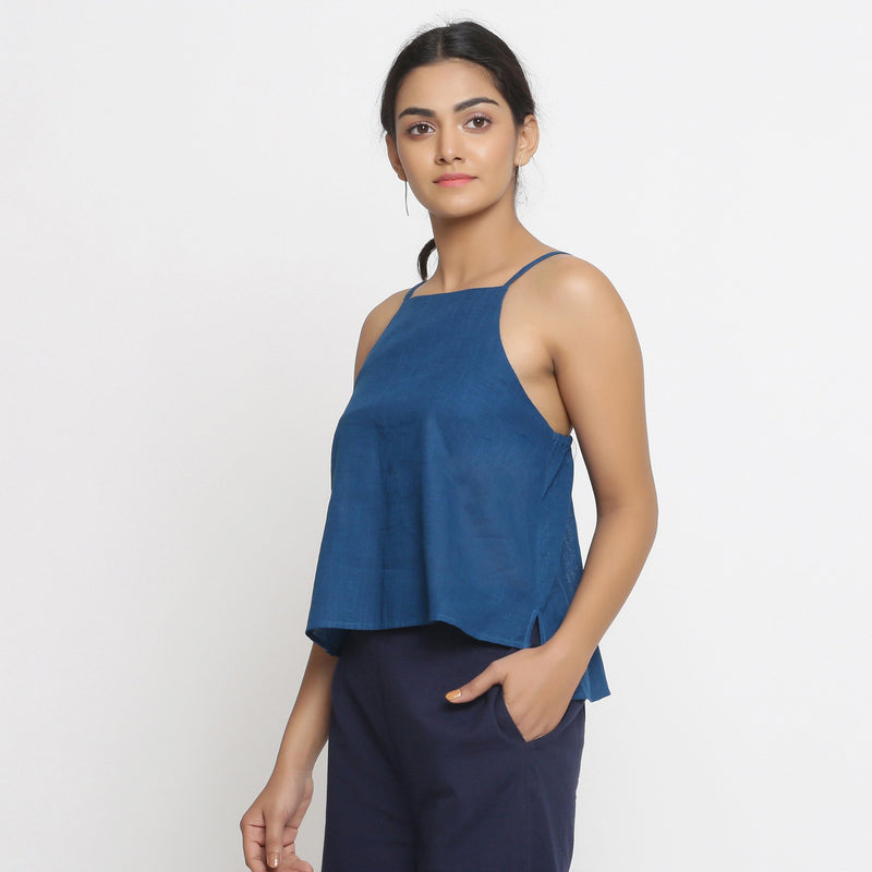 Left View of a Model wearing Strappy Everyday Cotton Spaghetti Top
