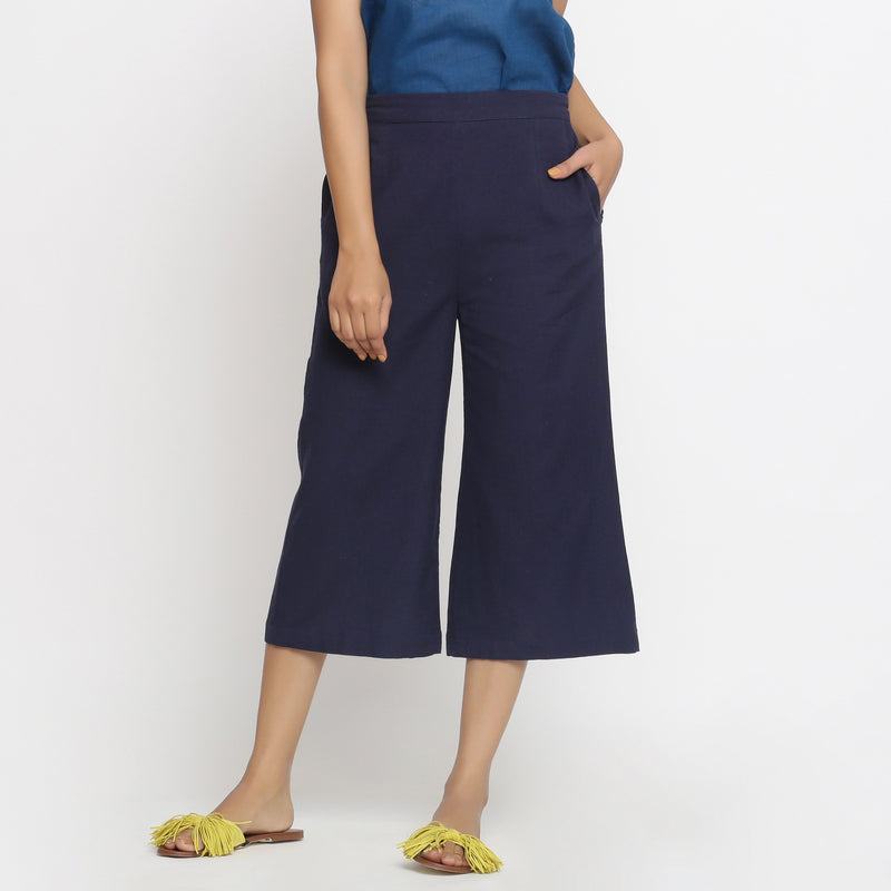 Front View of a Model wearing Solid Navy Blue Cotton Flax Culottes