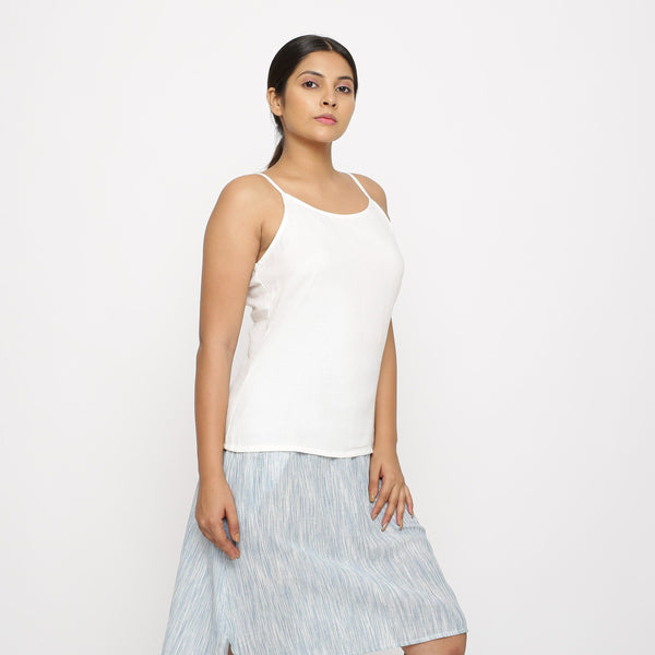 Right View of a Model wearing Solid White Cotton Moss Spaghetti Top