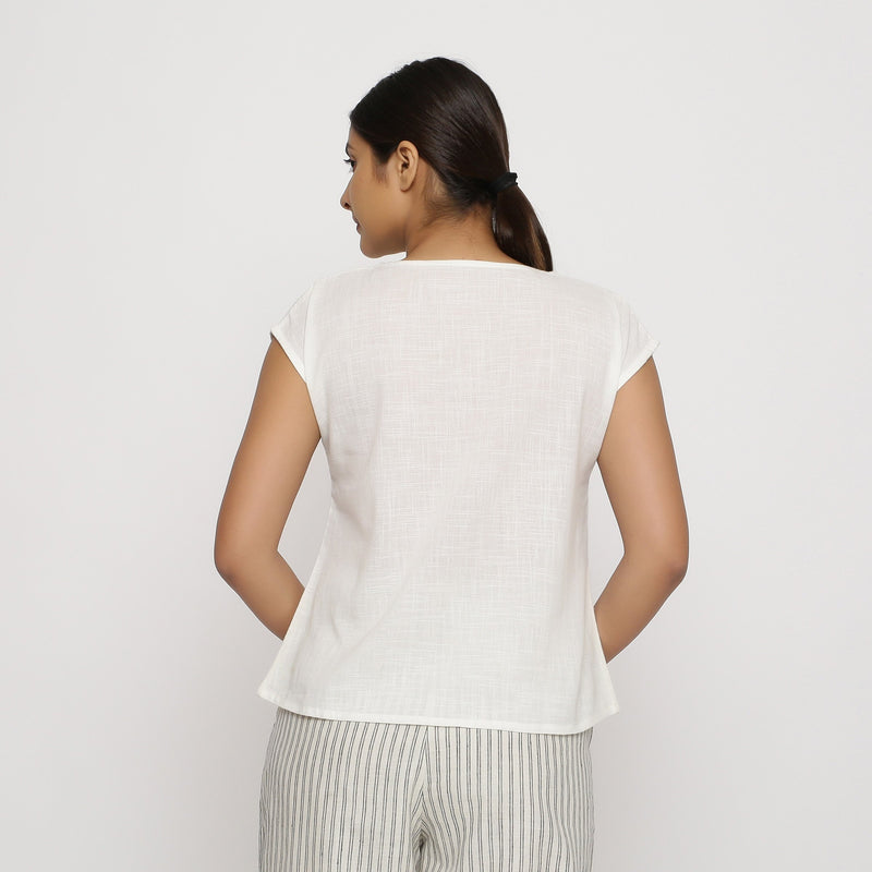 Back View of a Model wearing Off-White Cotton Slub Straight Top