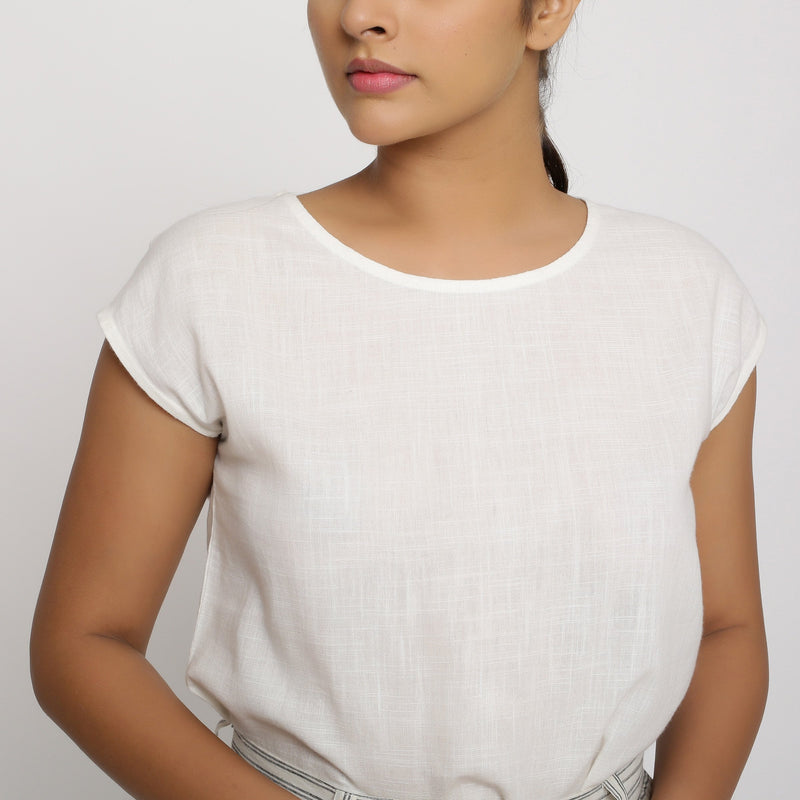 Front Detail of a Model wearing Off-White Cotton Slub Straight Top