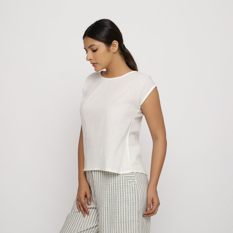 Left View of a Model wearing Off-White Cotton Slub Straight Top