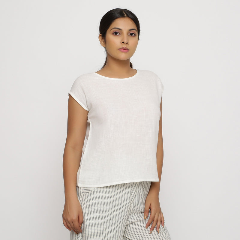 Front View of a Model wearing Off-White Cotton Slub Straight Top