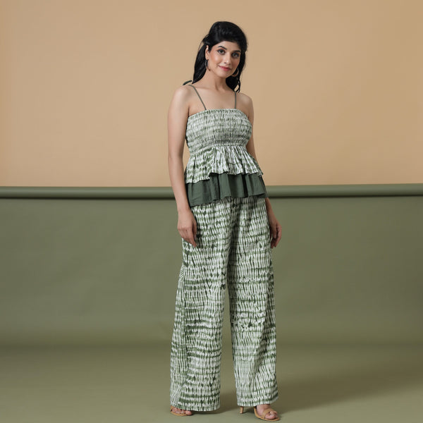 Fern Green Shibori Camisole Top and Pant Set