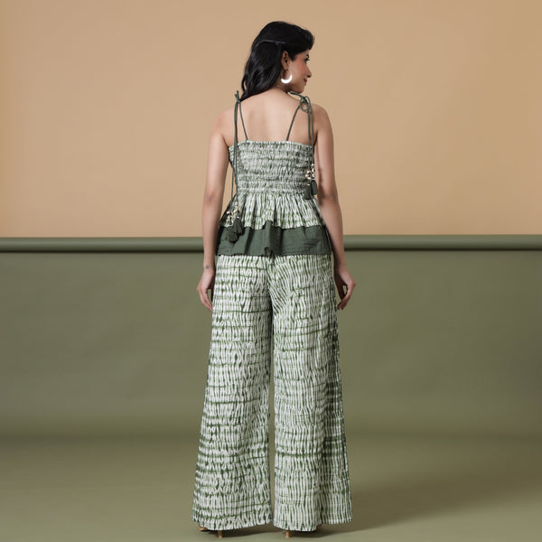 Back View of a Model wearing Fern Green Shibori Camisole Top and Pant Set