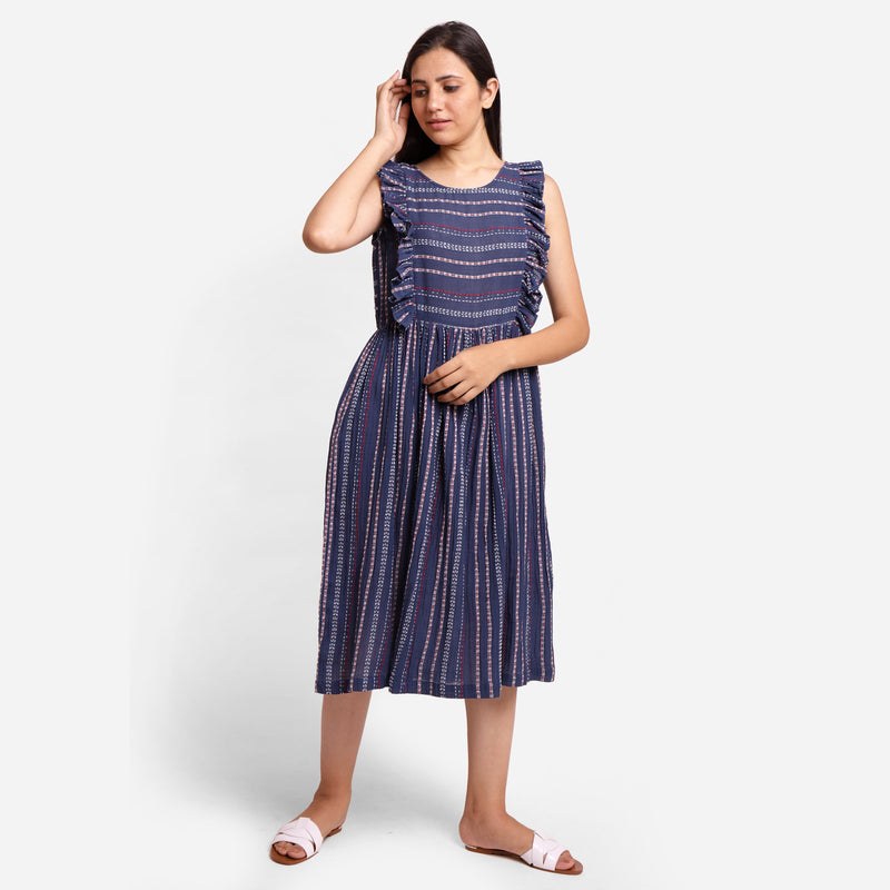 Front View of a Model wearing Navy Blue Crinkled Cotton Midi Dress