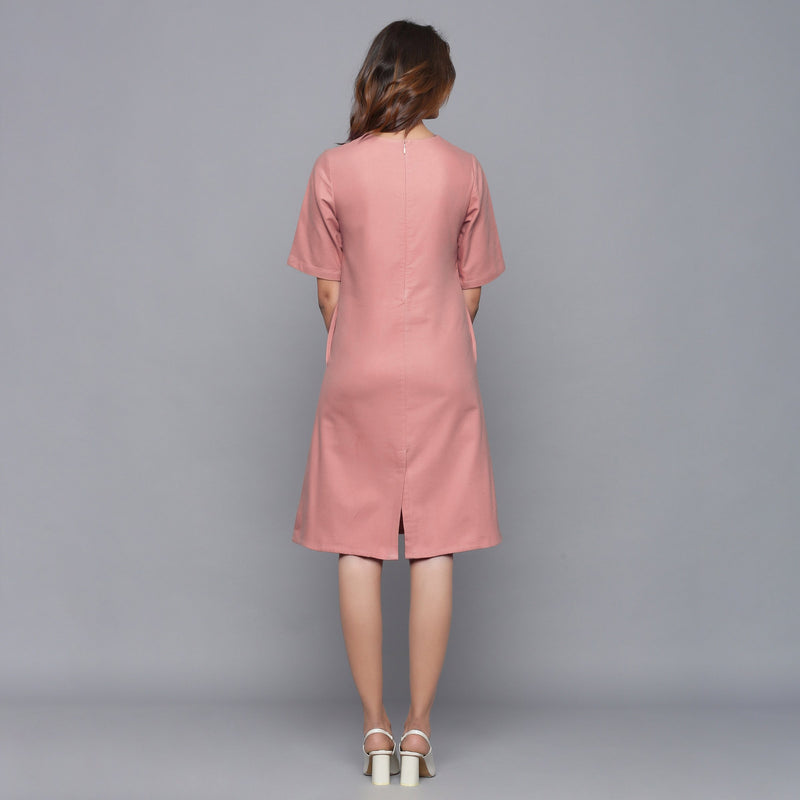 Back View of a Model wearing English Rose Round Neck Sheath Dress