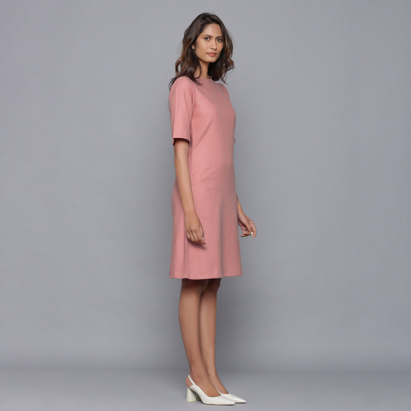 Right View of a Model wearing English Rose Round Neck Sheath Dress