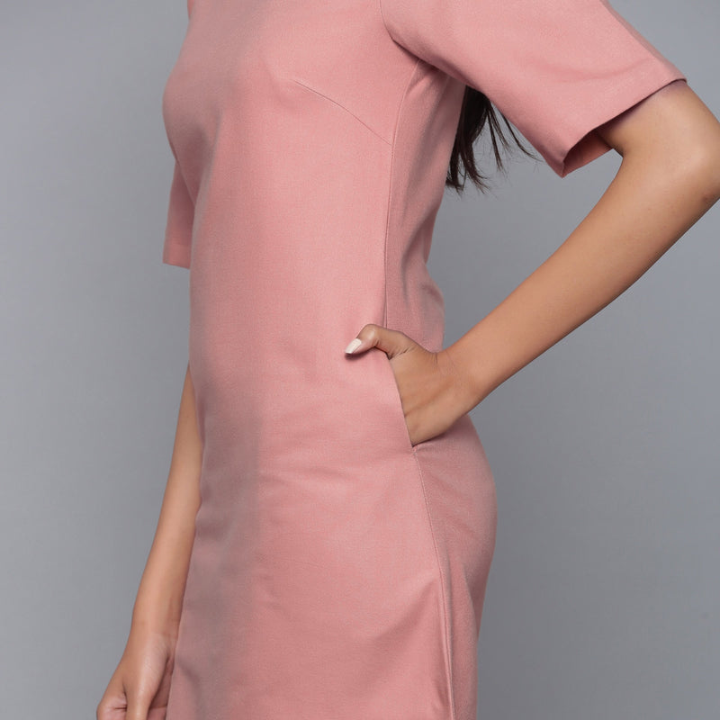Left Detail of a Model wearing English Rose Round Neck Sheath Dress