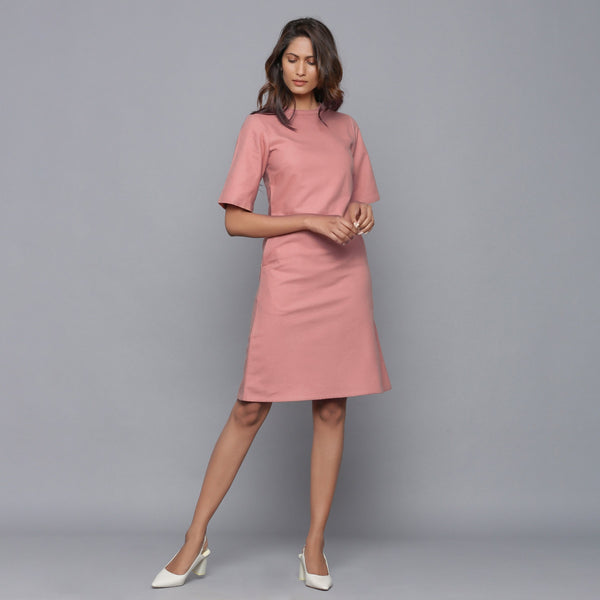 Front View of a Model wearing English Rose Round Neck Sheath Dress