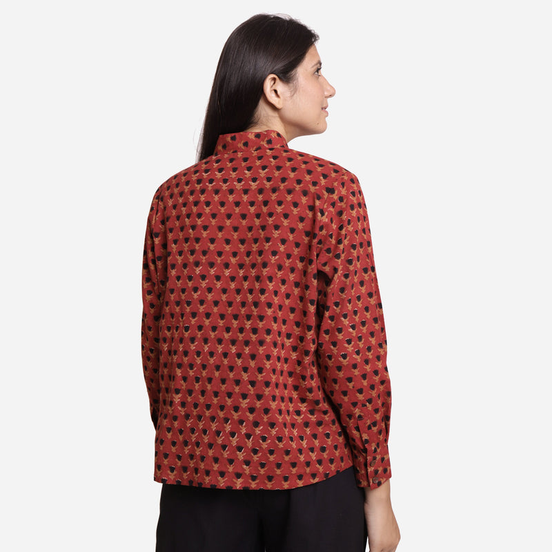 Back View of a Model wearing Bagru Block Print Mandarin Collar Shirt