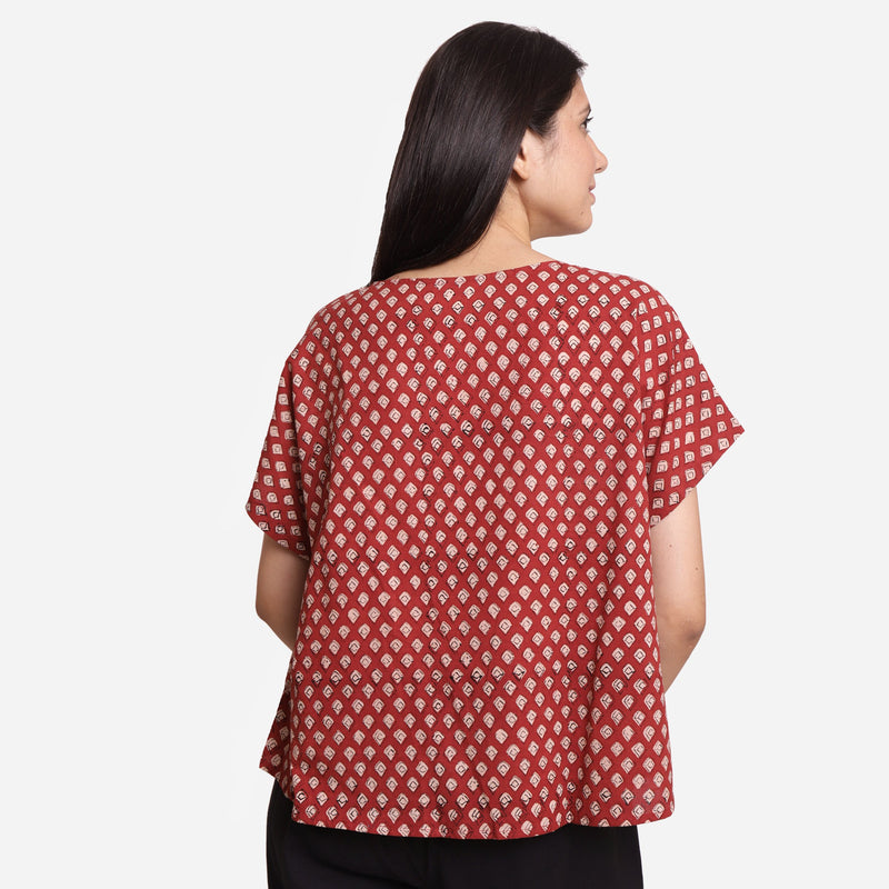 Back View of a Model wearing Bagru Block Print Welt Pocket Top