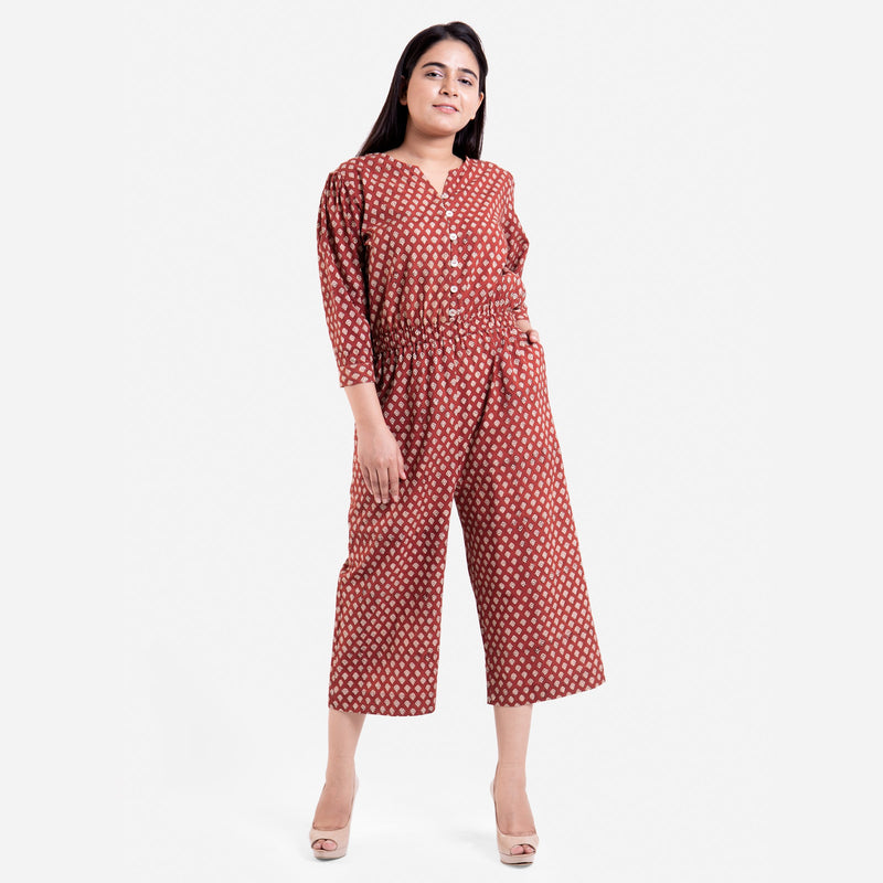 Front View of a Model wearing Hand Block Printed Button-Down Jumpsuit