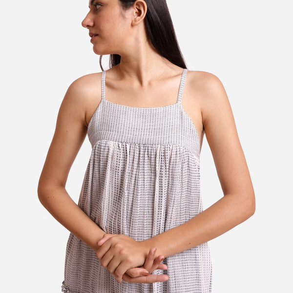 Front Detail of a Model wearing White Yarn Dyed Cotton Camisole Dress
