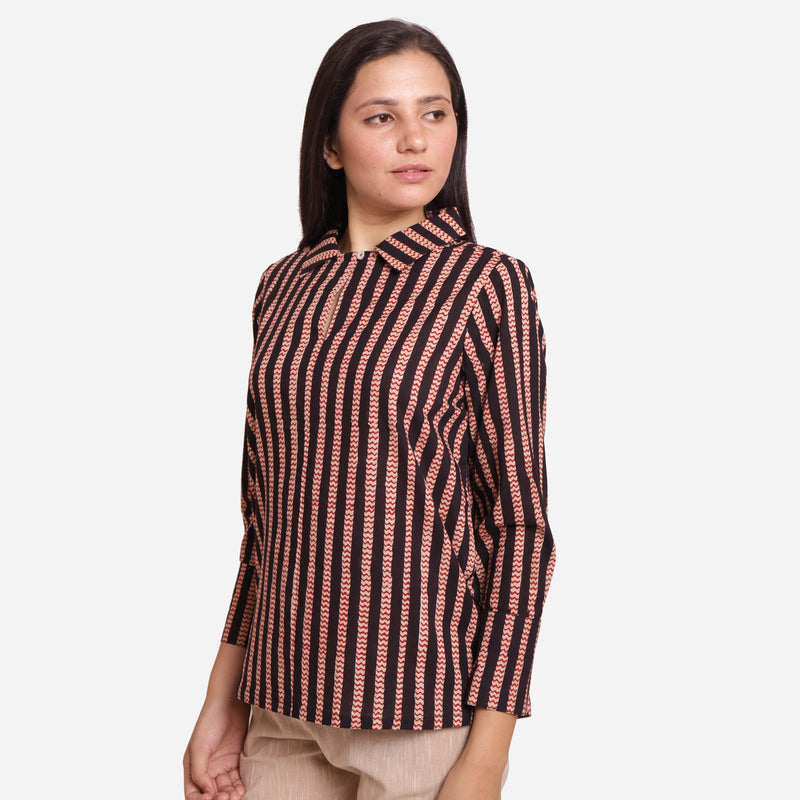 Front View of a Model wearing Flat Keyholed Collar Striped Shirt