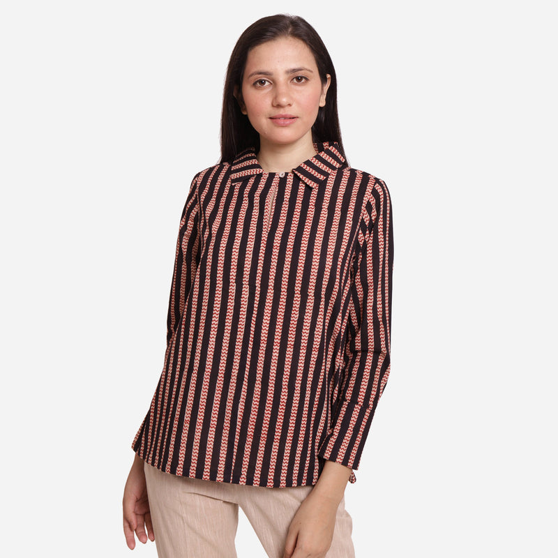 Front View of a Model wearing Bagru Block Print Striped Cotton Shirt