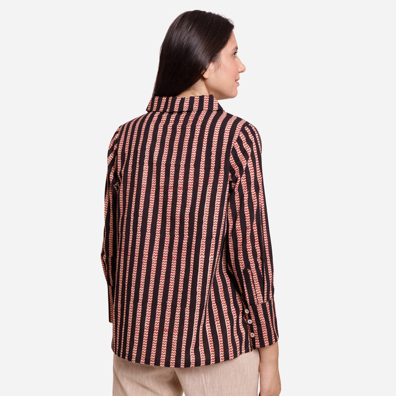 Back View of a Model wearing Flat Keyholed Collar Striped Shirt