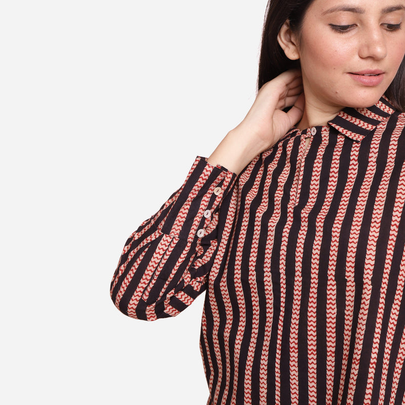 Front  Detail of a Model wearing Bagru Block Print Striped Cotton Shirt