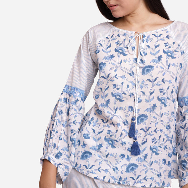 Front Detail of a Model wearing Blue Block Printed A-Line Cotton Top