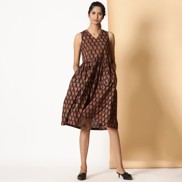 Front View of a Model wearing Floral Bagru Block Printed Gathered Dress