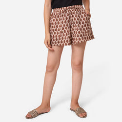 Front View of a Model wearing Floral Block Print Comfort Fit Shorts