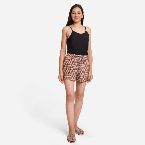 Front View of a Model wearing Floral Bagru-Printed Short Shorts