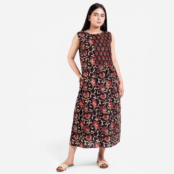 Front View of a Model wearing Floral Bagru Sleeveless Yoke Dress