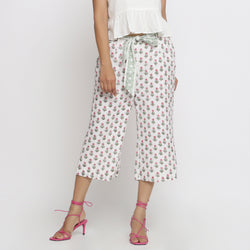 Front View of a Model wearing Floral Block Printed Low Rise Culottes