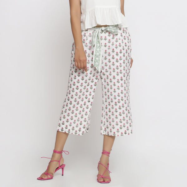 Front View of a Model wearing Floral Block Print Culottes