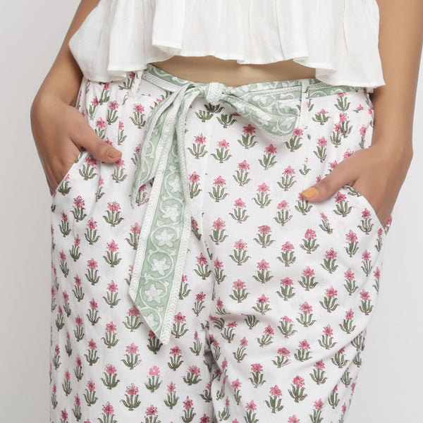 Front Detail of a Model wearing Floral Block Print Culottes