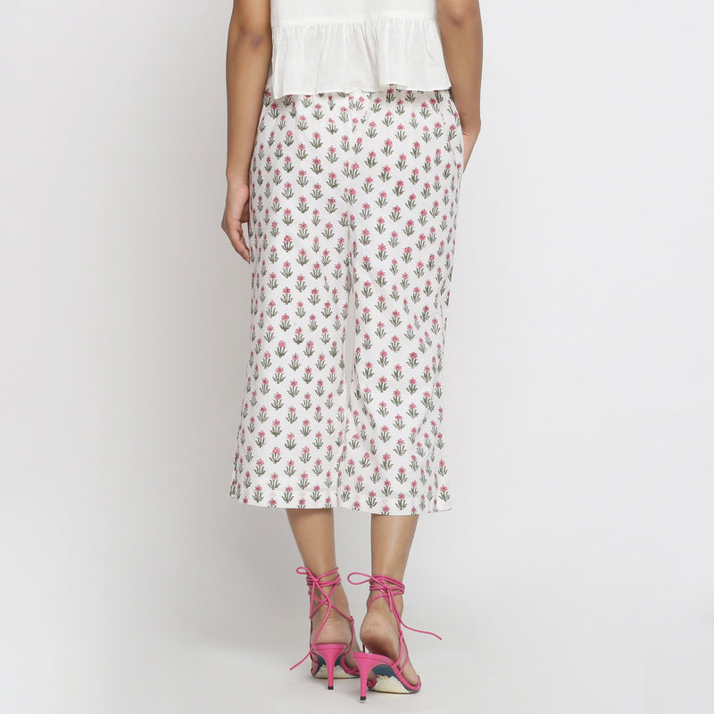 Back View of a Model wearing Floral Block Printed Low Rise Culottes