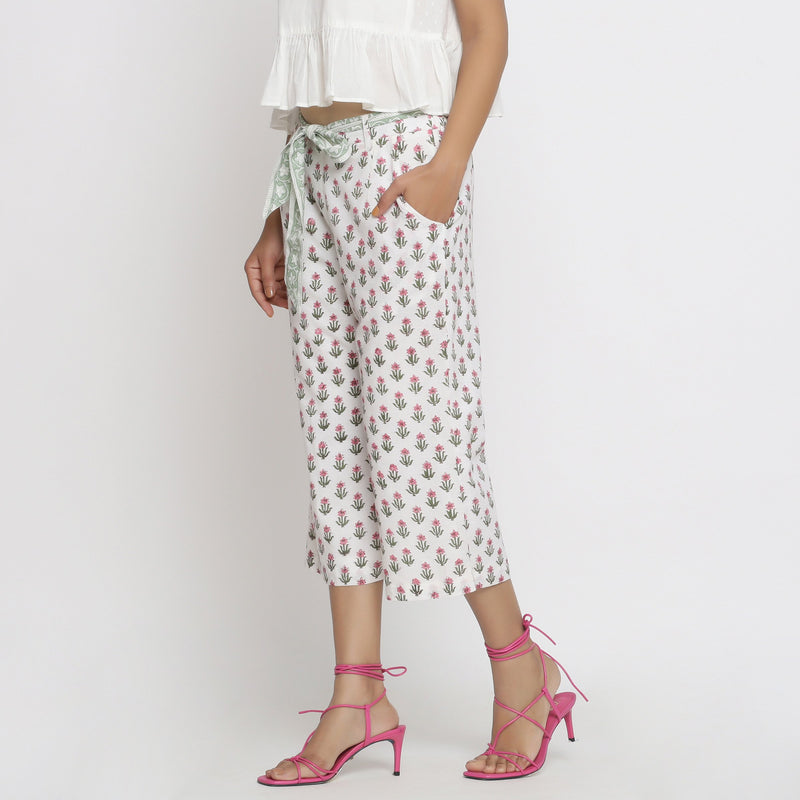 Left View of a Model wearing Floral Block Printed Low Rise Culottes