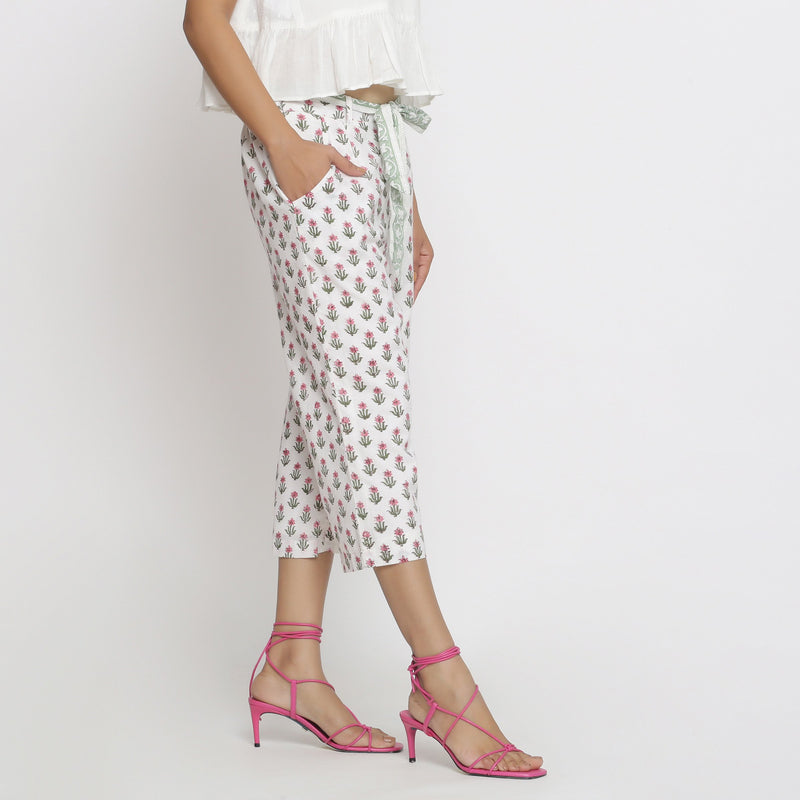 Right View of a Model wearing Floral Block Printed Low Rise Culottes