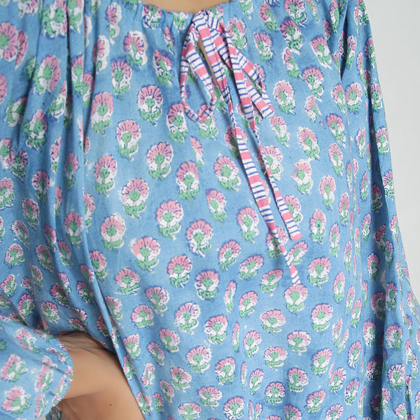 Front Detail of a Model wearing Floral Block Printed Balloon Top