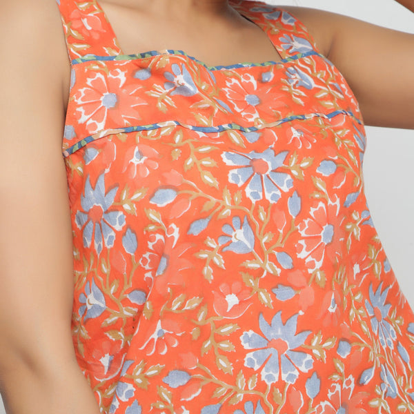 Front Detail of a Model wearing Floral Block-Printed Straight Top