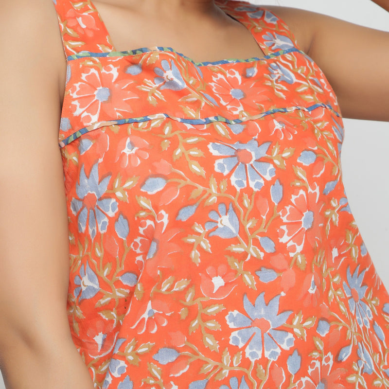 Front Detail of a Model wearing Floral Block Printed Straight Top