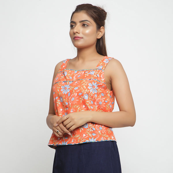 Front View of a Model wearing Floral Block-Printed Straight Top