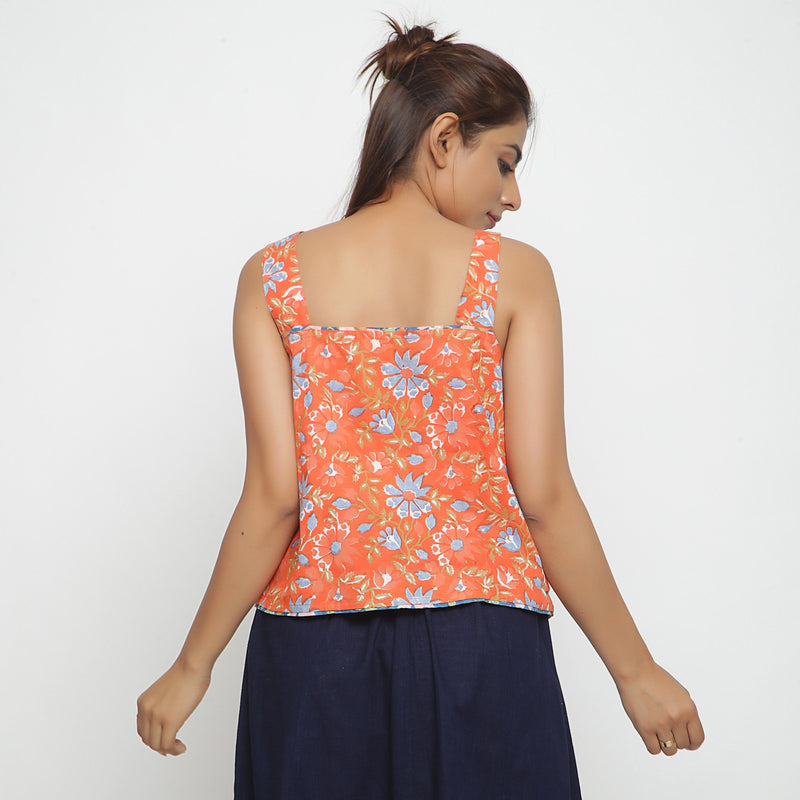 Back View of a Model wearing Floral Block Printed Straight Top