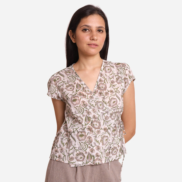 Front View of a Model wearing Floral Print V-Neck Casual Wrap Top