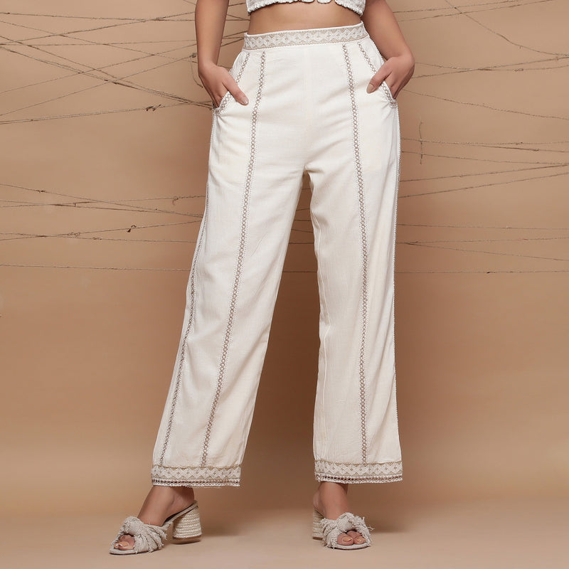 Front View of a Model wearing Jute Cotton Lace Straight Pant
