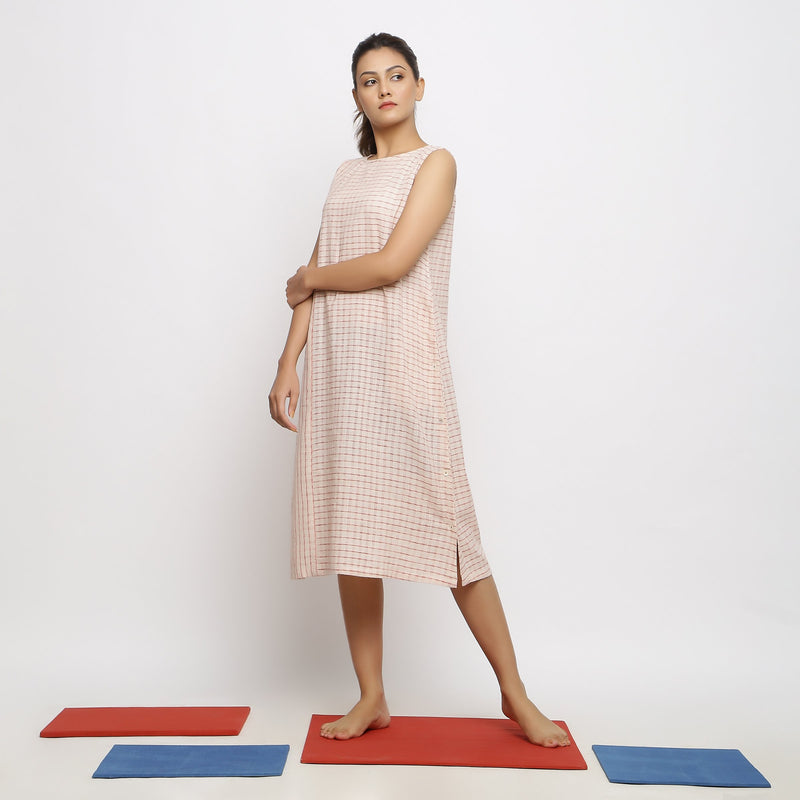Left View of a Model wearing Vegetable Dyed Pink Paneled Dress
