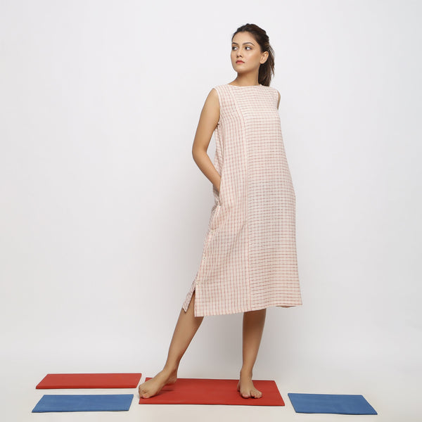 Front View of a Model wearing Vegetable Dyed Pink Paneled Dress