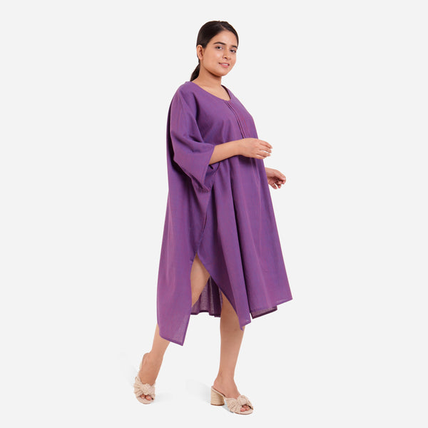 Right View of a Model wearing Violet Anti-Fit Flowy Cotton Kaftan
