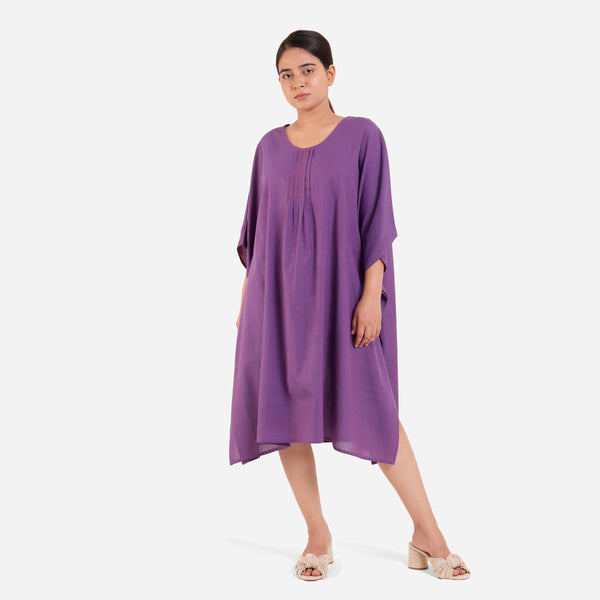 Front View of a Model wearing Violet Anti-Fit Flowy Cotton Kaftan