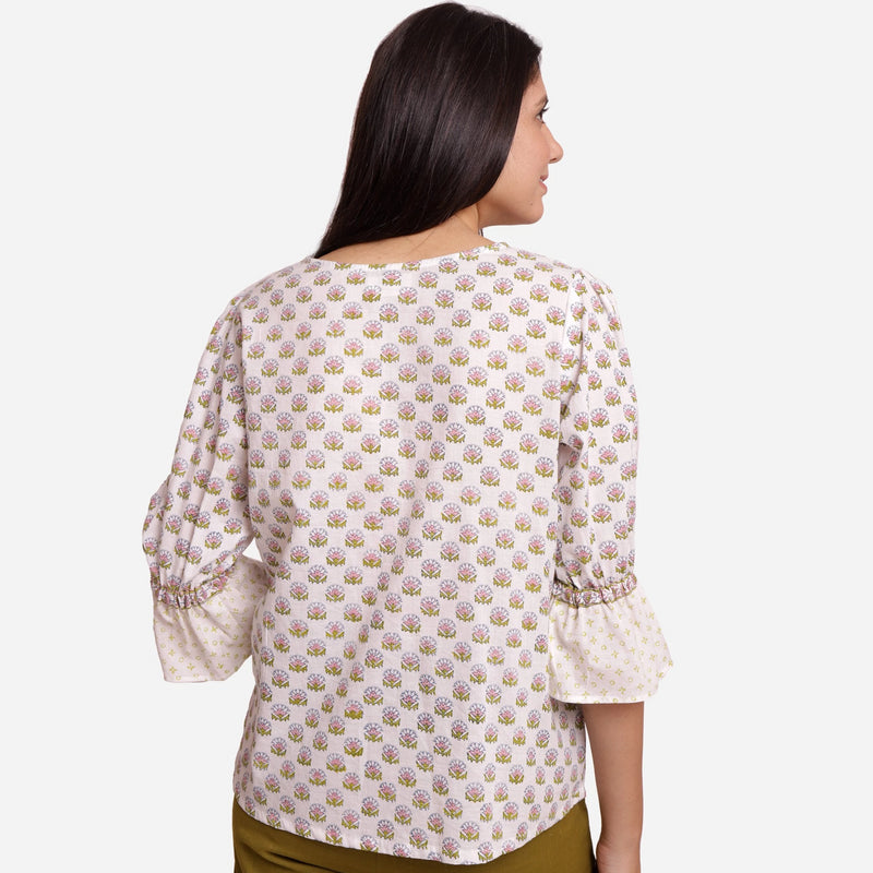 Back View of a Model wearing Block Printed Frilled Puff Sleeves Top