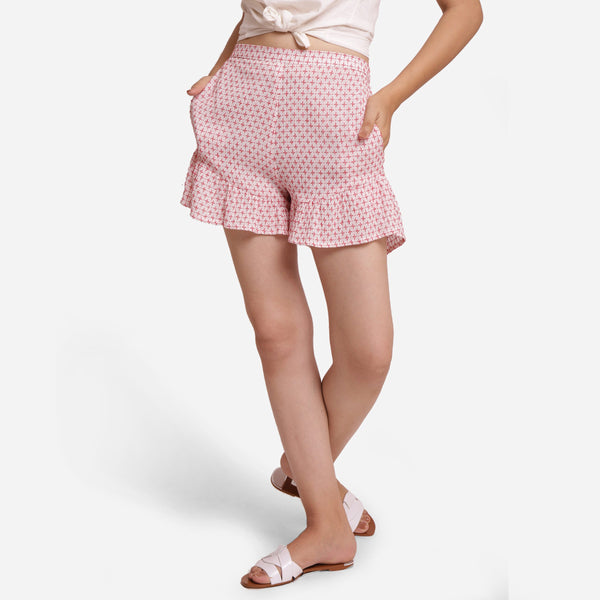 Front View of a Model wearing White Crinkled Cotton Frilled Shorts