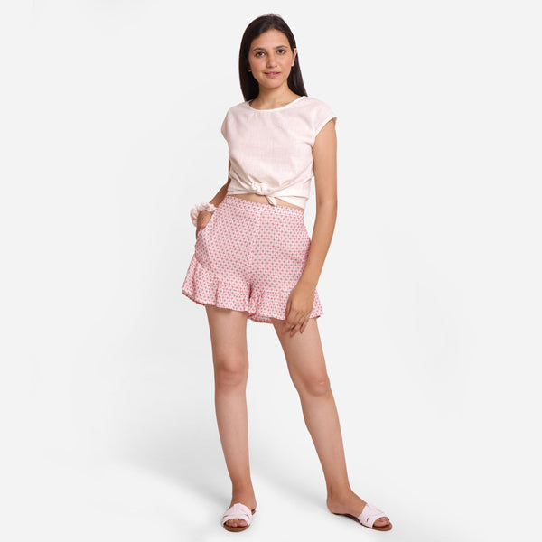 Front View of a Model wearing Frilled Short Shorts