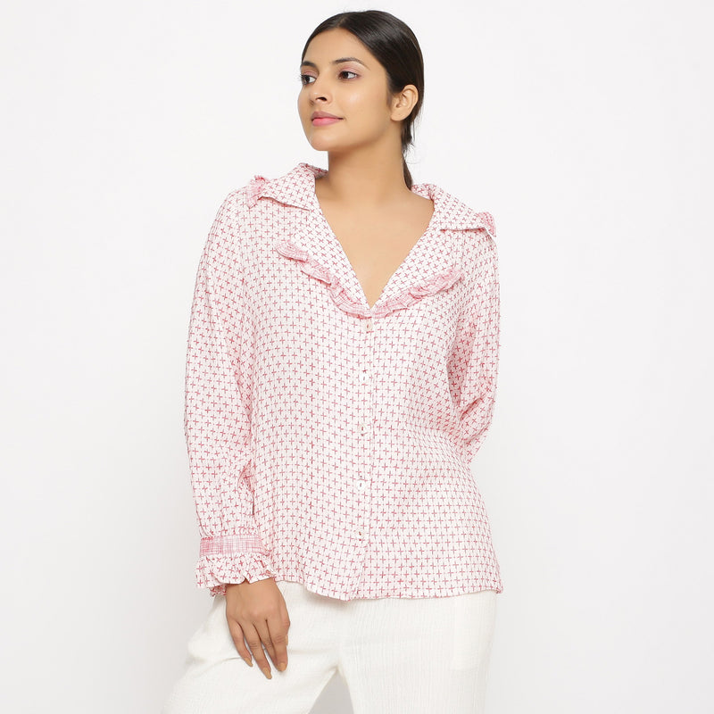 Front View of a Model wearing White Crinkled Cotton Button-Down Shirt