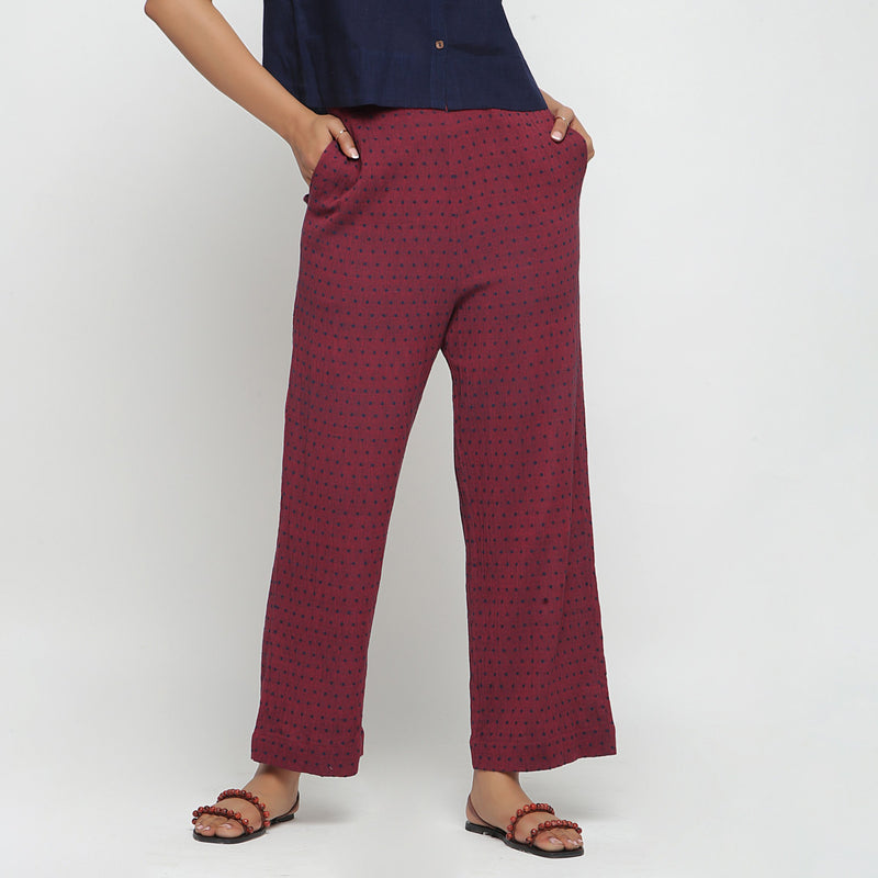 Front View of a Model wearing Red Polka Dots Straight Cotton Pant